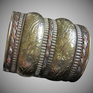 Wide Brass and Copper Cuff Bracelet with Floral Motif
