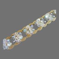 Final Markdown - Vintage Gold Tone Mesh and Crystals Bracelet