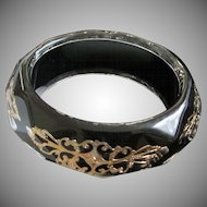 Faceted Lucite Bangle Bracelet with Black and Gold ~ REDUCED!
