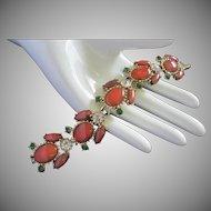 Faux Carnelian Emerald and Clear Rhinestone Bracelet