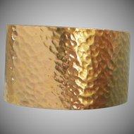 Trifari Hammered Gold Tone Vintage Cuff Bracelet