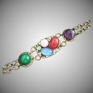 Final Markdown - Vintage Brass and Glass Cabochons Bracelet