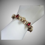 Romantic Victorian Style Ruby Rhinestones, Faux Pearls, Book Link Chain Bracelet