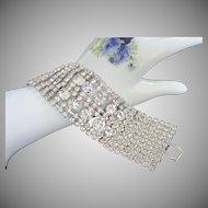 Vintage Clear Rhinestone Bracelet with Ten Wide Rows of Sparking Stones