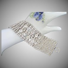 Vintage Clear Rhinestone Bracelet with Ten Wide Rows of Sparking Stones