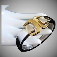 Trifari Mixed Metal Buckle Design Clamper Bracelet in Silver and Gold Tones