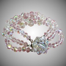 Three Strands of AB Crystals Bracelet
