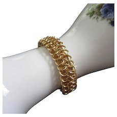Vintage Goldette Gold Tone Loops and Mesh Bracelet ~ REDUCED!
