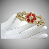 Vintage Ruby and Clear Rhinestone Clamper Bracelet ~ REDUCED!