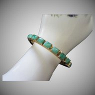 Vintage Marbled Green Glass Stones and Gold Tone Bracelet