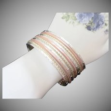 Vintage Stack of 10 Thin Bangles Cuff Bracelet