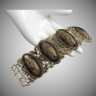 Chunky Vintage Bracelet with Black and Gold Drizzle Cabochons