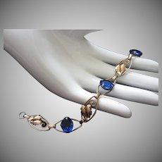 Vintage Gilt and Blue Glass Bracelet