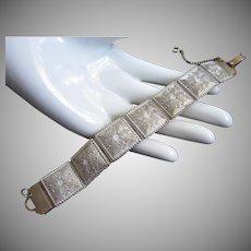 Whitewash Enamel Bracelet with Raised Panels on Mesh