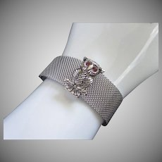 Sarah Coventry Silver Tone Mesh Owl Bracelet