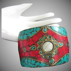 Extra Wide Exotic Brass Bangle Bracelet with Faux Turquoise and Red Stones