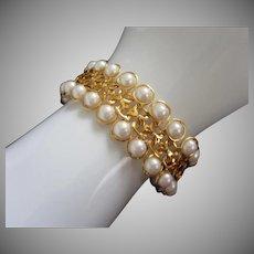 Vintage Avon Faux Pearl and Gold Tone Bracelet