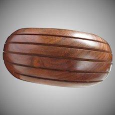 Chunky Wood and Brass Vintage Bangle Bracelet