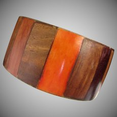 Vintage Wood and Brass Bangle Bracelet