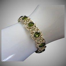Olivine Green Rhinestone and Light Gold Tone Vintage Bracelet