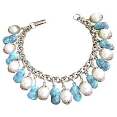 Faux Pearl and Turquoise Charm Bracelet