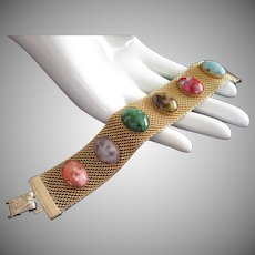 Sarah Coventry Faux Stone Cabs and Mesh Bracelet ~ Sonnet Collection