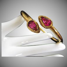 Hot Pink Rhinestone and Gold Tone Bangle Bracelet, Signed