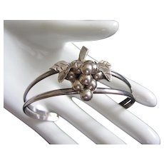 Sterling Silver Cuff Bracelet with Grapes and Leaves Cluster ~ Signed Mexico .925
