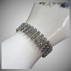 Vintage 4 Rows Light Sapphire Rhinestone Bracelet