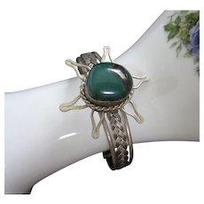 Green Semi Precious Stone and Silver Tone Bracelet