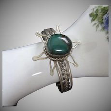 Green Semi Precious Stone and Silver Tone Bracelet