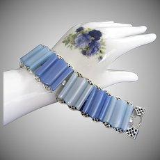 Chunky Coro 1950's Blue Lucite Bracelet