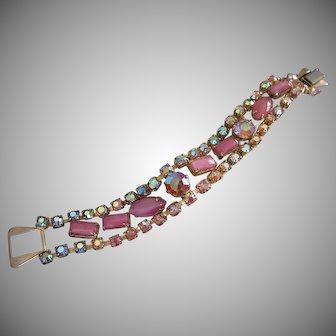 Pink Satin Glass Rhinestone Vintage Bracelet