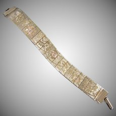 Gold Tone Mesh Bracelet with Etched Floral Design
