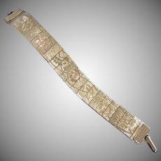 Gold Tone Mesh Bracelet with Etched Floral Design