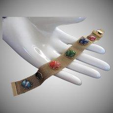 Vintage Faux Glass Stones and Gold Tone Mesh Bracelet