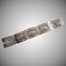 Mexican Handwrought .925 Sterling Silver Bracelet with Strange Creatures, 1950's