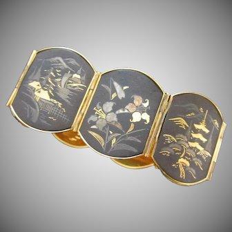 Vintage Japanese Damascene Shakudo Bracelet Inlaid With Gold and Silver