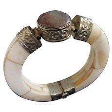 Carved Bone and Purple Lavender Stone Hinged Bangle Bracelet