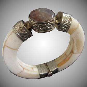 Carved Bone and Stone Vintage Hinged Bangle Bracelet