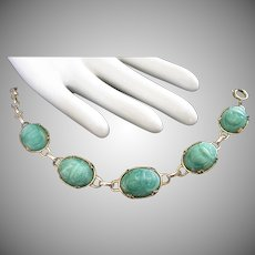 Vintage Jade Lucite Scarabs Bracelet