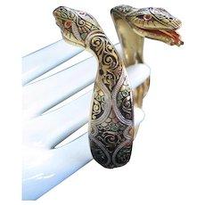 Stunning Damascene Double Headed Snake Bangle Bracelet