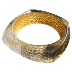 24K Yellow Gold Foil Set Inside Lucite Bangle Bracelet, Signed