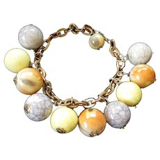 Perky Yellow, Orange and Taupe Balls Charm Bracelet