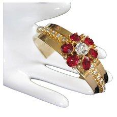 Vintage Ruby and Crystal Rhinestone Cuff Bracelet