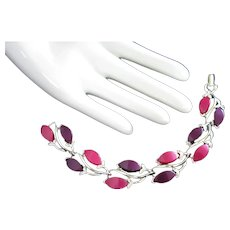 Vintage Purple and Magenta Lucite Bracelet, Silver Tone Leaves and Branches