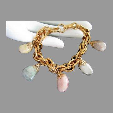 Vintage Semi Precious Stones Charm Bracelet, Pastel Colors