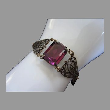Sadie Green Amethyst Rhinestone Art Deco Style Bracelet