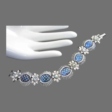 Coro Iridescent Blue Molded Glass Cabs Bracelet, Silver Tone Flowers