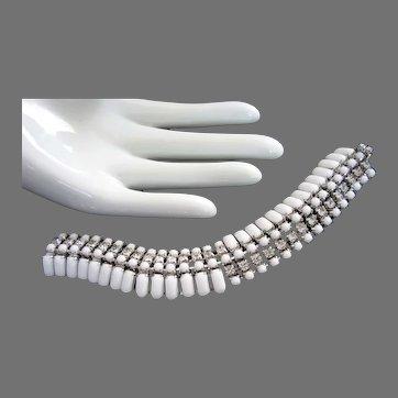 Kramer White Milk Glass and Crystal Rhinestones Vintage Bracelet, Kramer of New York